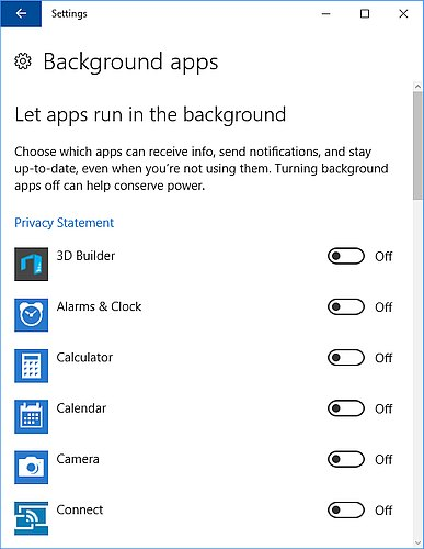 Background apps settings in Windows 10