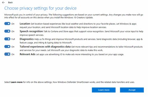 Creators Update privacy choices, Windows 10
