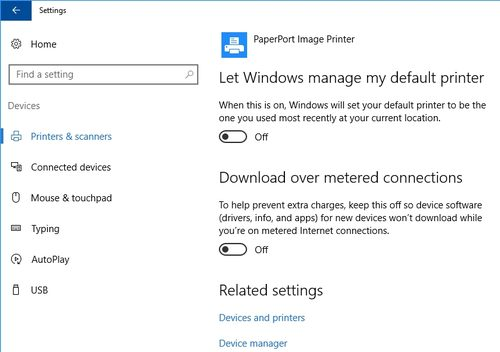 Let Windows manage my default printer, in Windows 10