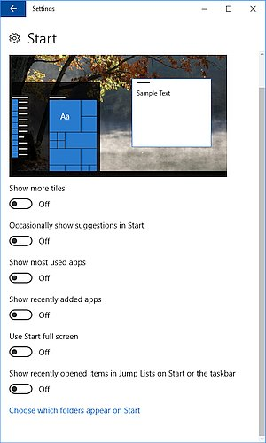 Windows 10 Start menu Options
