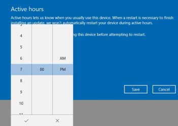Active Hours in Windows 10