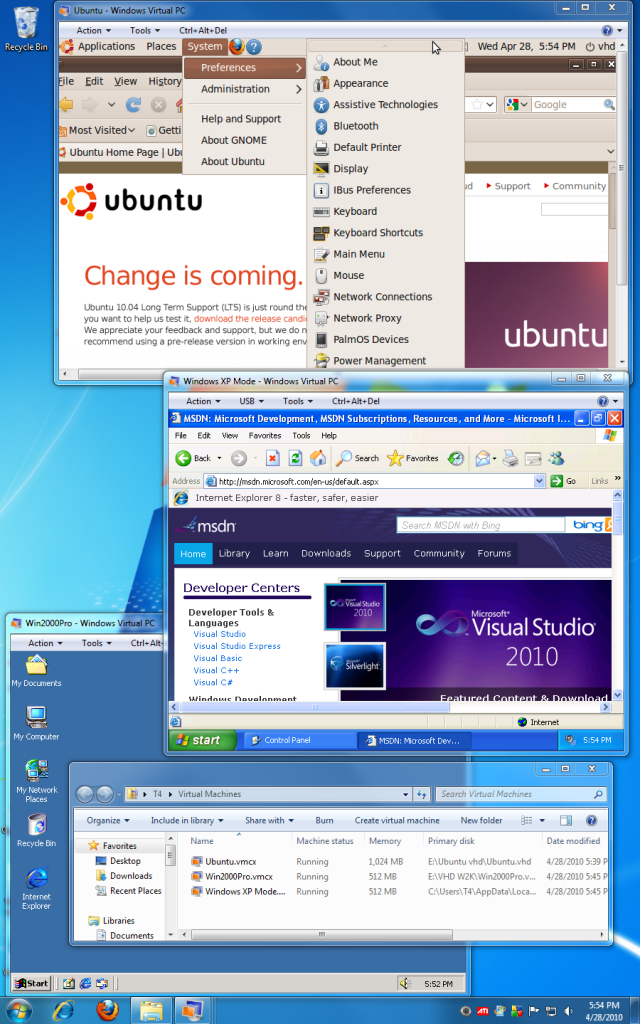 Windows 7 with virtual PC windows for Ubuntu Linux, Windows XP Pro, and Windows 2000 Professional