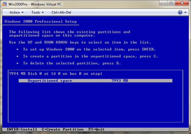 Formatting the Windows 2000 Pro virtual drive in Microsoft Virtual PC