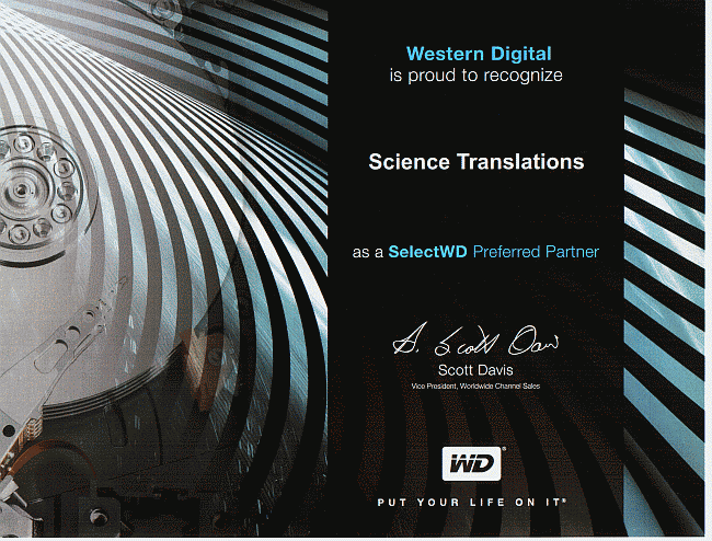 WD Preferred Partner Science Translations