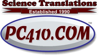 PC410.com, Science Translations in Westminster Maryland, established 1990